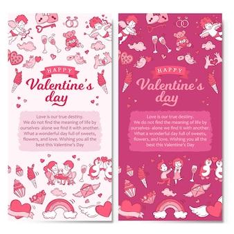 Ilustração de banners verticais do dia dos namorados