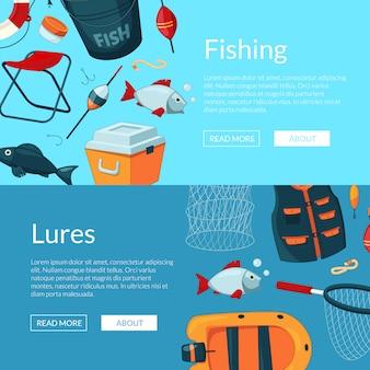 Ilustração de banners web horizontal com equipamento de pesca dos desenhos animados