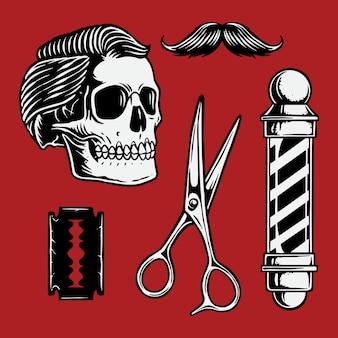 Ilustração, de, barbeiro, elemento