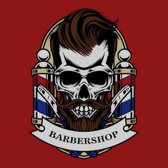 Ilustração de barbeiro vintage em crânio e design de camiseta