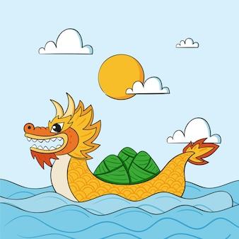 Ilustração de barco dragão desenhada à mão