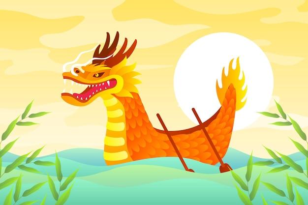 Ilustração de barco dragão gradiente