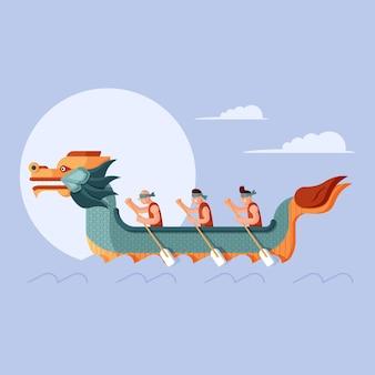 Ilustração de barco dragão plano