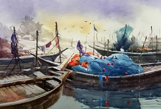 Ilustração de barcos em aquarela flutuando no rio