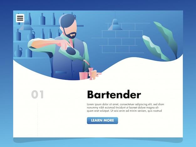 Ilustração de barman para o modelo de página de destino
