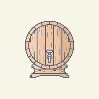 Ilustração de barril de madeira