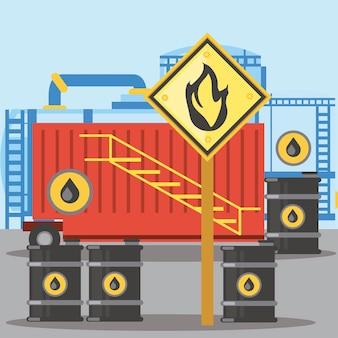 Ilustração de barris de óleo de armazenamento de recipiente de fraturamento com substância inflamável