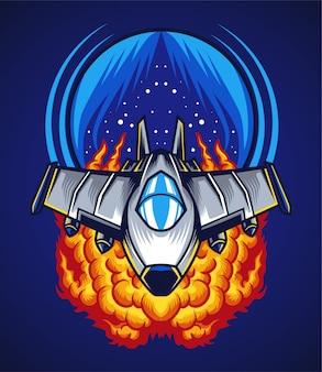Ilustração de batalha espacial