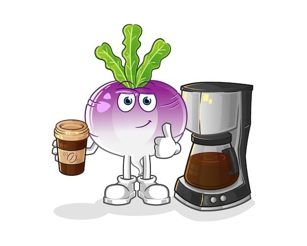 Ilustração de batata frita bebendo café