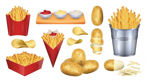Ilustração de batata frita. realista conjunto ícone alimentos vegetais.