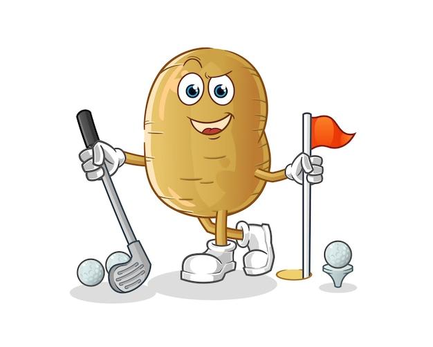 Ilustração de batata jogando golfe
