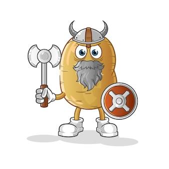 Ilustração de batata viking com machado
