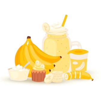 Ilustração de batido e batido de banana doce isolada no branco