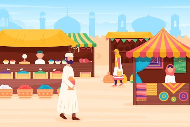 Ilustração de bazar árabe com comerciantes e clientes
