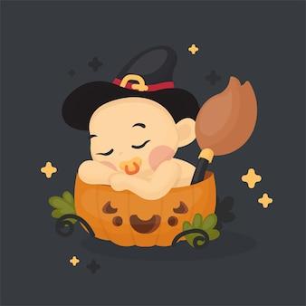 Ilustração de bebê fofo com fantasia de halloween na abóbora