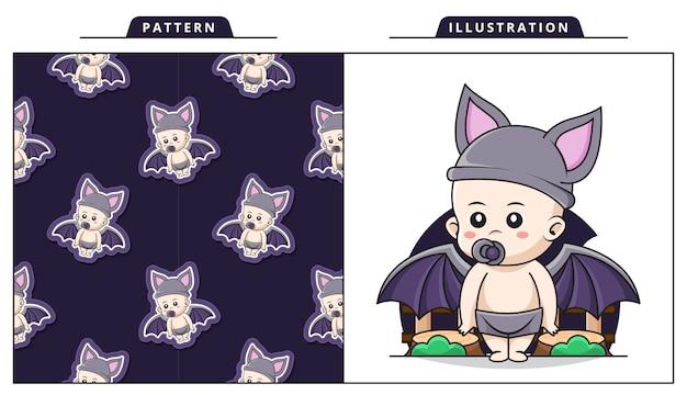 Ilustração de bebê fofo vestindo fantasia de morcego com padrão decorativo sem costura