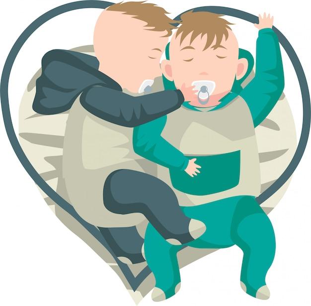 Ilustração de bebês gêmeos dormindo juntos