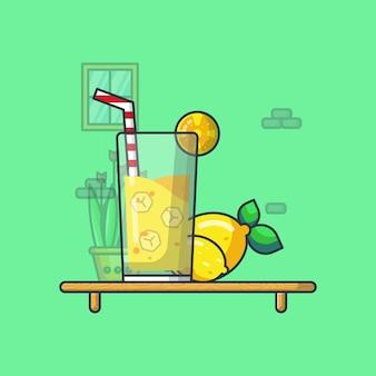 Ilustração de bebida de limão. estilo cartoon plana