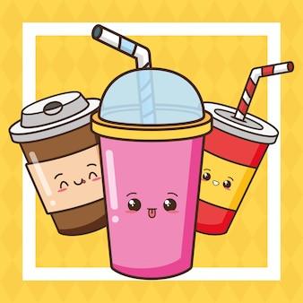 Ilustração de bebidas cute kawaii fast-food