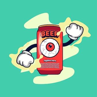 Ilustração de beer character vintage dos anos 90