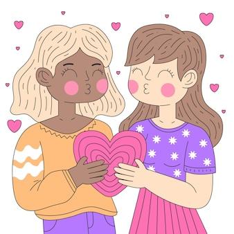 Ilustração de beijo de casal de lésbicas em design plano
