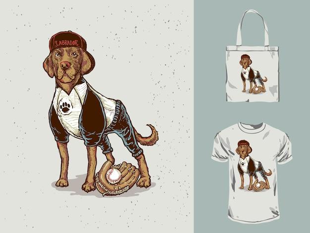 Ilustração de beisebol dos desenhos animados cão labrador