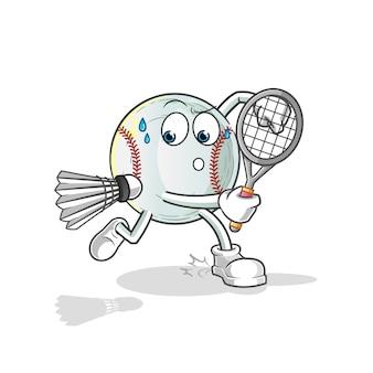 Ilustração de beisebol jogando badminton