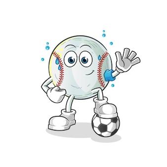 Ilustração de beisebol jogando futebol