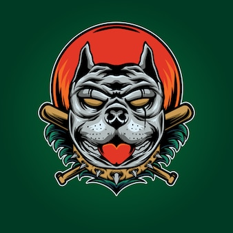 Ilustração de beisebol pitbull