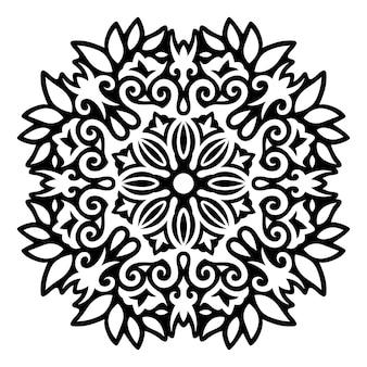 Ilustração de bela tatuagem tribal monocromática com padrão floral preto abstrato isolado no fundo branco