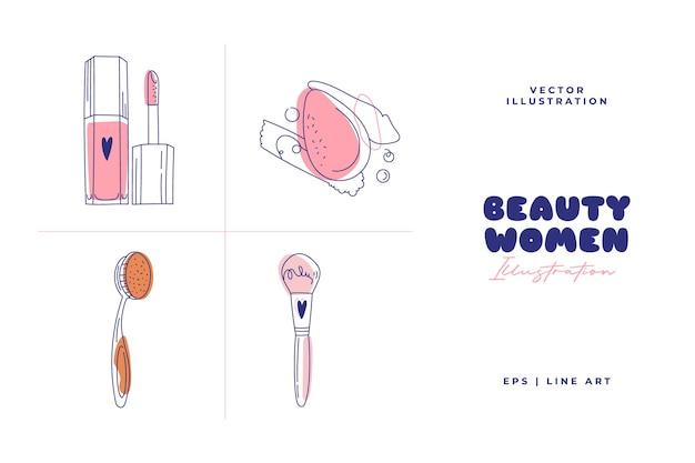 Ilustração de beleza abstrata moderna. estilo de desenho de arte de linha. vetor de doodle.