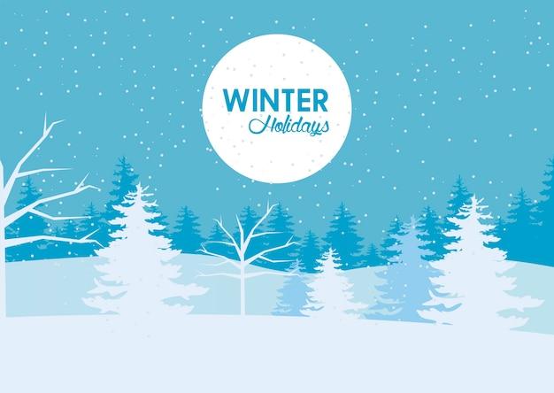 Ilustração de beleza azul paisagem de inverno e letras em moldura circular