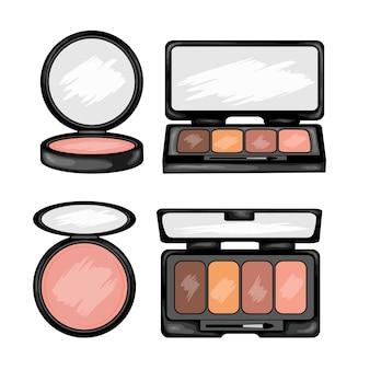 Ilustração de beleza com kit de maquiagem.