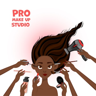 Ilustração de beleza com rosto feminino africano e mãos com cosméticos