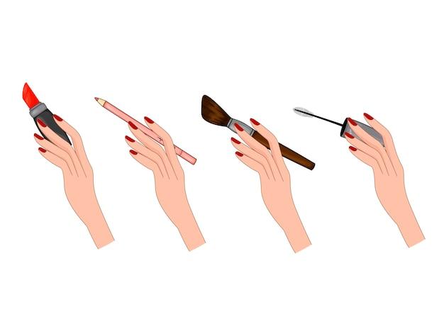 Ilustração de beleza com um conjunto de mãos femininas com objetos de beleza.