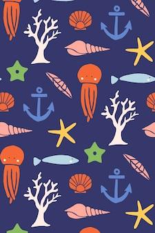 Ilustração de belo design plano de elementos do mar