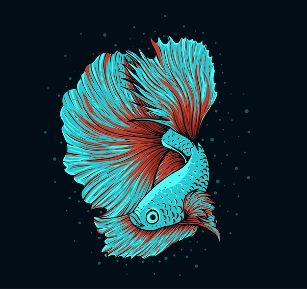 Ilustração de belos peixes betta em fundo preto