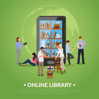 Ilustração de biblioteca on-line