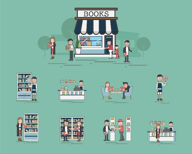 Ilustração, de, biblioteca, vetorial, jogo
