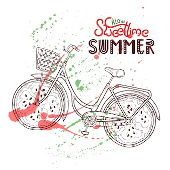 Ilustração de bicicleta com melancia em vez de rodas.