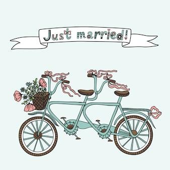 Ilustração de bicicleta em tandem retrô