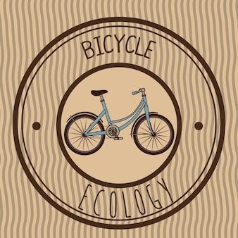 Ilustração de bicicleta emblema retrô