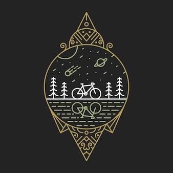 Ilustração de bicicleta para a natureza 3 monoline