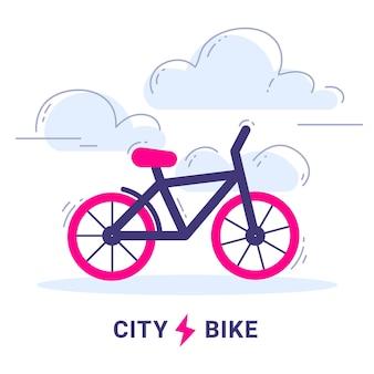 Ilustração de bicicleta urbana com nuvens