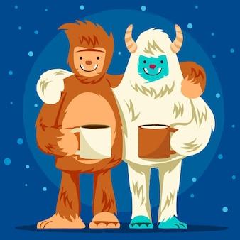 Ilustração de bigfoot desenhada à mão e yeti adominável boneco de neve