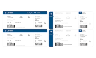 Ilustração, de, bilhete avião