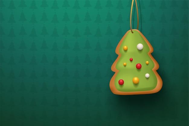 Ilustração de biscoito de árvore de natal marrom pendurado em um fundo verde texturizado com sombra realista