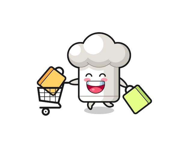 Ilustração de black friday com mascote de chapéu de chef fofo, design de estilo fofo para camiseta, adesivo, elemento de logotipo