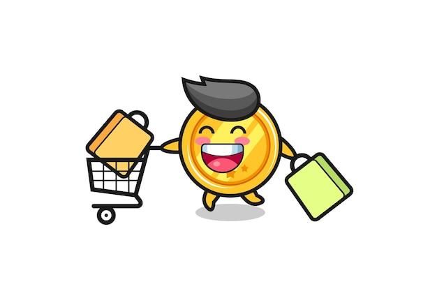 Ilustração de black friday com mascote de medalha fofo, design de estilo fofo para camiseta, adesivo, elemento de logotipo