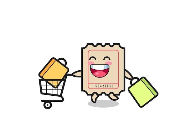 Ilustração de black friday com mascote fofo, design de estilo fofo para camiseta, adesivo, elemento de logotipo